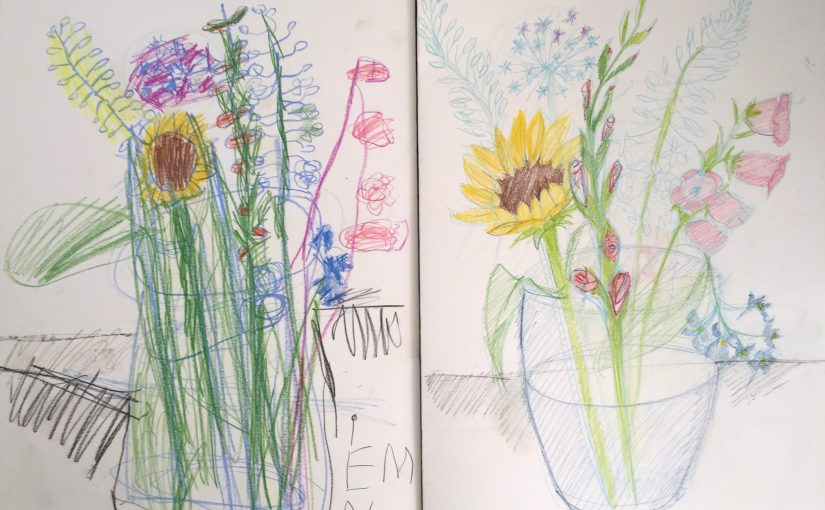 Drawing flowers with a 4-year-old